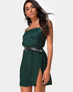 MOTEL-ROCKS-Datista-Dress-in-Satin-Cheetah-Forest-Green-S-Small-MR11