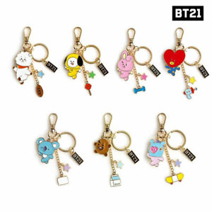 BTS-BT21-Official-Authentic-Goods-Metal-Keyring-7Characters-By-Monopoly-Track