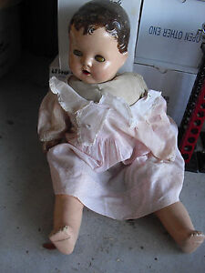 Vintage-1940s-Composition-Cloth-Baby-Girl-Character-Doll-20-034-Tall-2