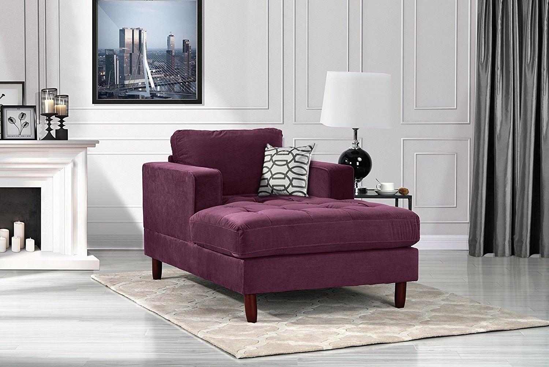 Mid Century Modern Velvet Fabric Living Room Chaise Lounge Purple