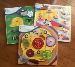 Lot-of-3-DISCOVERY-Imaginarium-Peg-Puzzles-Kitchen-Pizza-Food-Tools-age-2