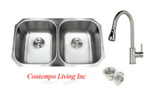 "32"" Stainless Steel Double 50/50 Bowl 18 Gauge Undermount Kitchen Sink Faucet"