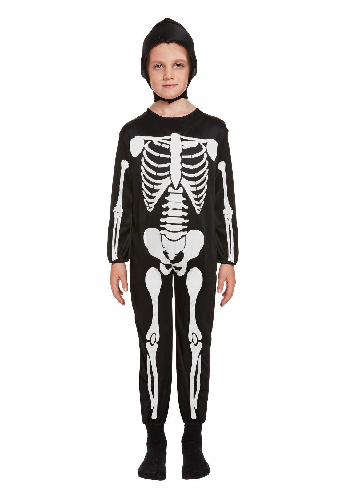 Boys Skeleton Costume Childs Scary Skull Kids Halloween Fancy Dress Outfit