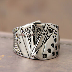 Details zu Stainless Steel Poker Game Ace of Spade Royal Flush Ring Texas Hold'em Silver