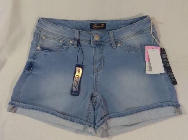 NWT Women/'s Powell Blue Seven 7 Knit Denim Jean Shorts Size 4