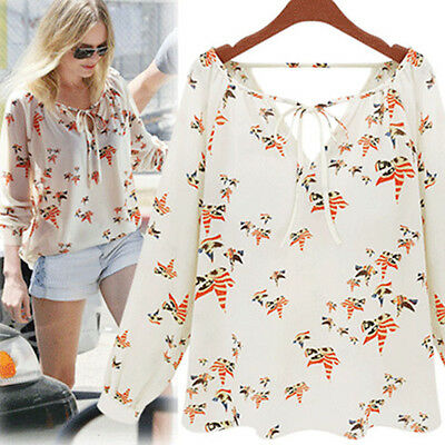 Women Summer Casual Loose Tether Long Sleeve Blouse Chiffon Floral Tops T-Shirt