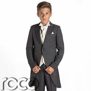 Image Is Loading Boys Grey Suit Tail Suits Wedding