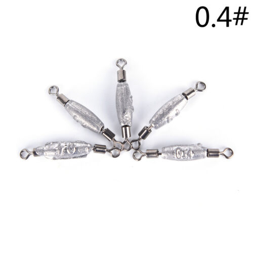 10Pcs Fishing Lead Sinker Swivels Rolling Counterweight Tackle Accessories kh9