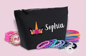 Personalised Unicorn Name Make Up / Wash Bag Christmas Gift Present Kids Black