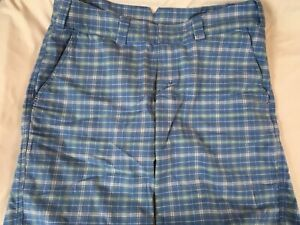The-North-Face-Shorts-Women-s-12-Blue-White-Plaid-Green-Accents-Bermuda
