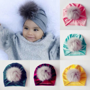 1b7d012da Baby Toddler Kids Boy Girl Turban Velvet Beanie Hat Winter Fur Pom ...