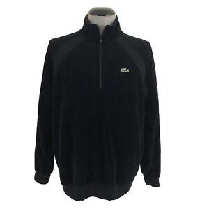 Supreme-x-Lacoste-Mens-L-1-4-Zip-Black-Spell-Out-Logo-Velour-Track-Jacket