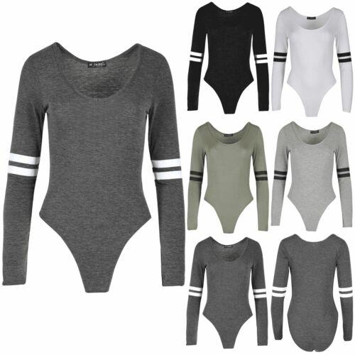 Femme Body Femmes Contraste Sportif Rayures Extensible Haut à Manches Longues Justaucorps