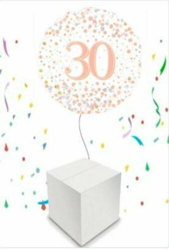 Rose Gold Happy 30th Birthday Inflated Balloon in a Box Party Supplies