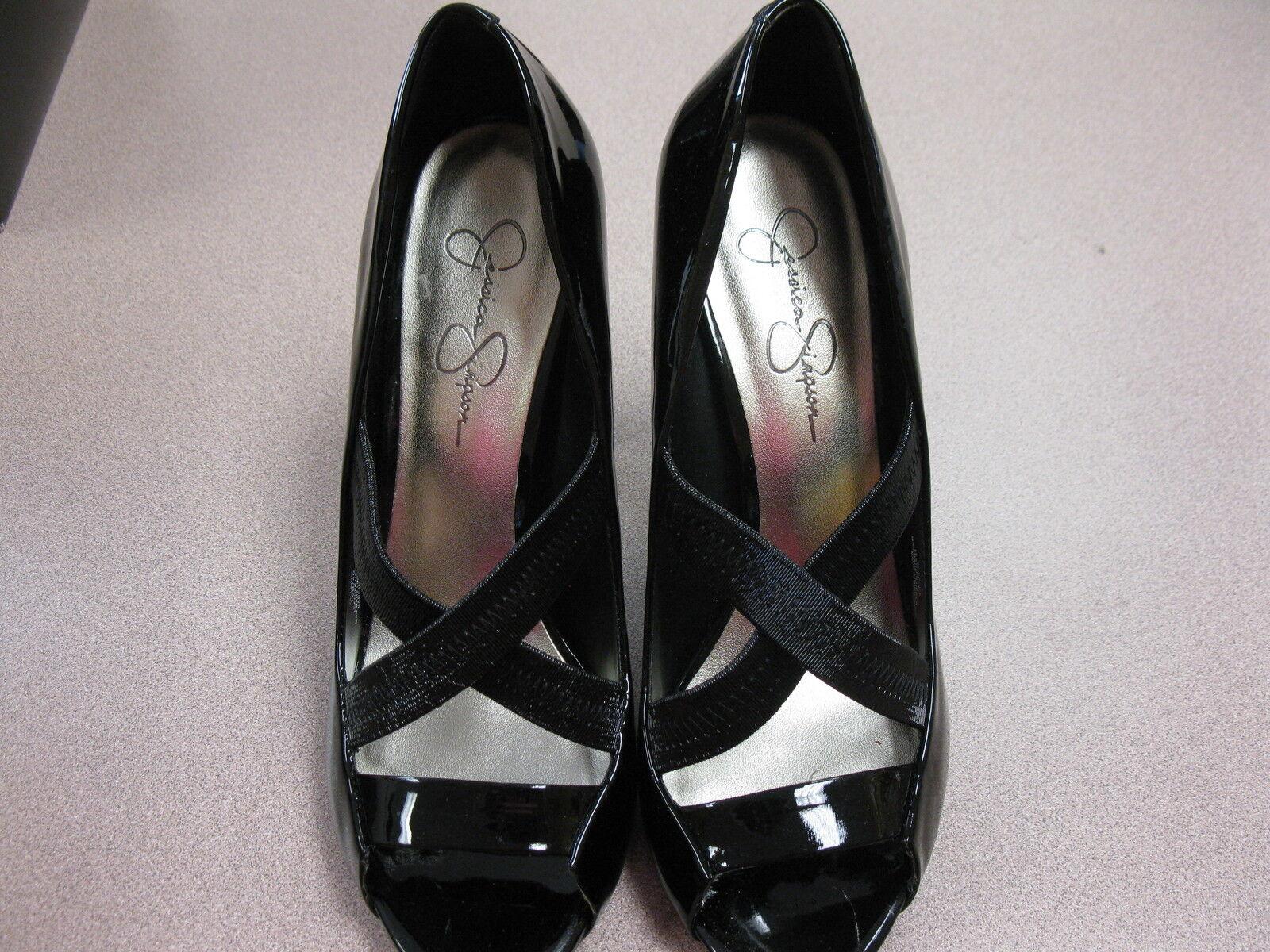 Jessica Simpson  Laqua  Black Patent Leather Open Tow Pump, Women's 10M,