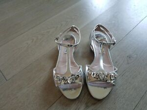 32d68b5e6ed Details about Miu Miu Crystal (Rhinestones) on Silver Leather Strap  Sandals; Low Heel; Sz 36