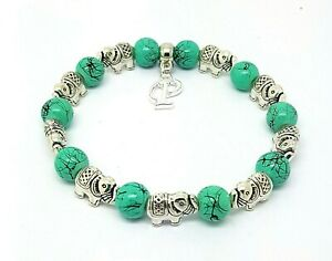 Personalised-Initial-Letter-Elephant-Turquoise-Elasticated-Bracelet-Gift-Bag