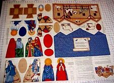 Christmas Nativity Manger Fabric Panel Cut Sew Creche Cranston VIP Keepsake MINT