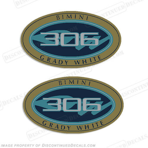 Grady White Bimini 306 Logo Decals Set of 2 Decal Reproductions in Stock