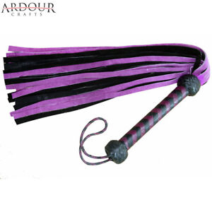 Genuine-Cow-Hide-Suede-Leather-Flogger-Purple-amp-Black-Leather-whip-25-Tails