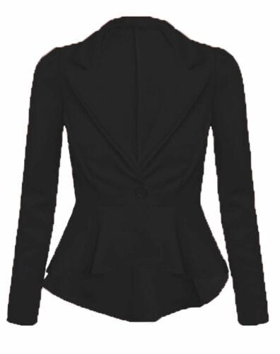 Donna a maniche lunghe Crop Frill SLIM FIT Peplum Blazer Jacket Coat Taglia 8-16
