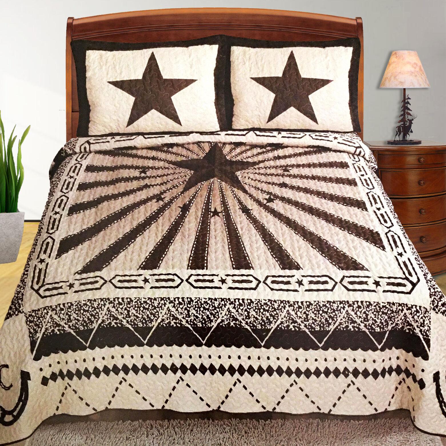 Western Texas Star Horse Cowboy Horseshoe 3 Pc Bedspread Quilt Set Queen Beige