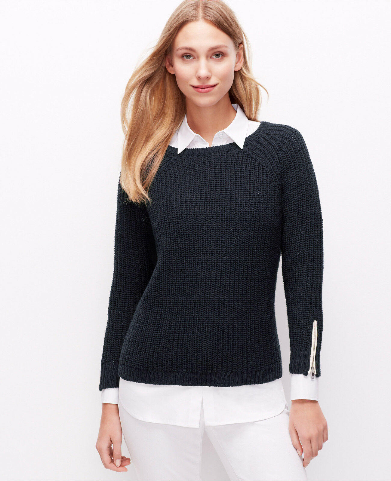 Ann Taylor - Woman's Medium (8-10) Dark Sky bluee Zip Cuff Sweater  (12)