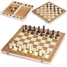 4 in 1 Wooden Board Games Compendium Travel Set Chess Domino Backgammon Mikado
