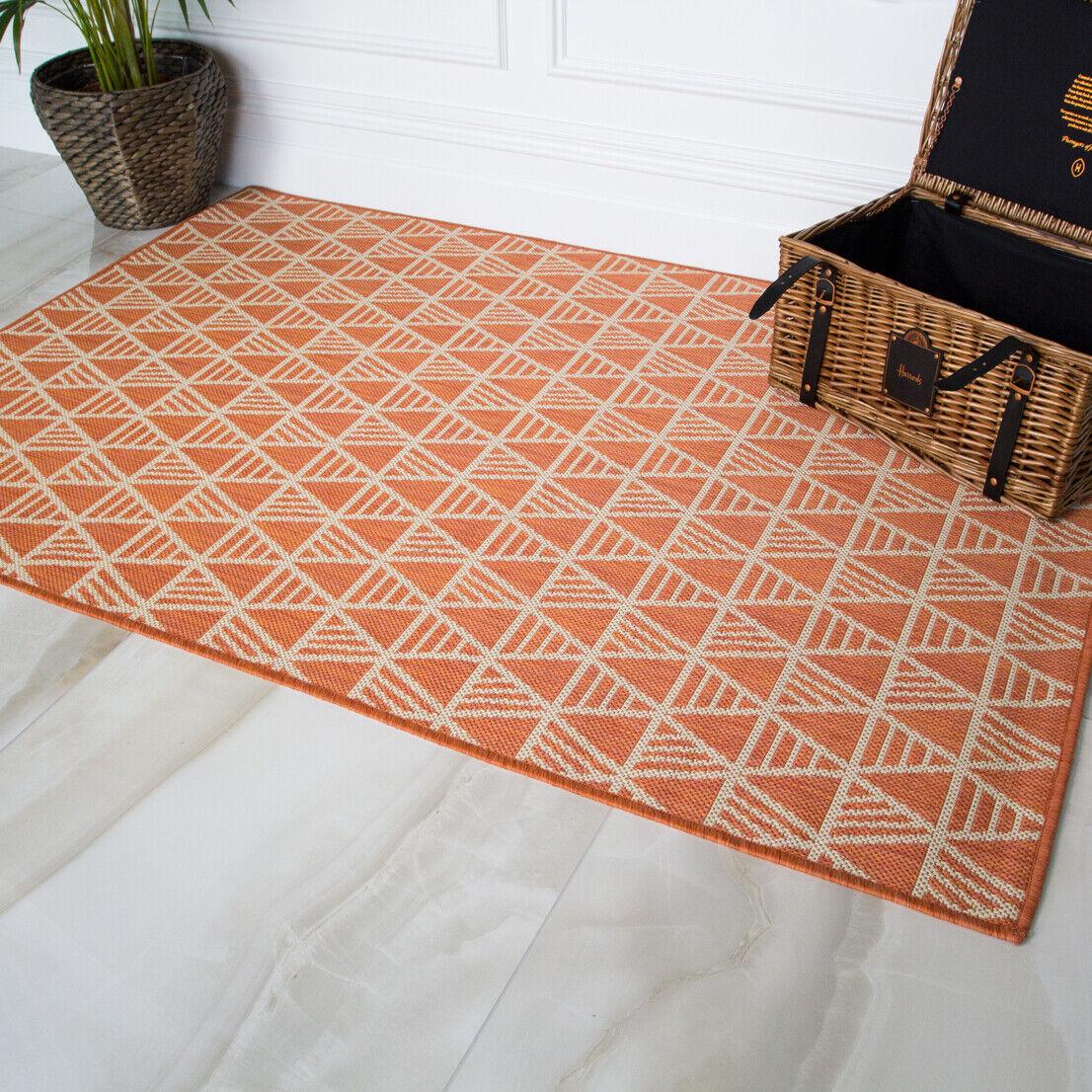 Resistente Designer Terra Arancione Flatweave a buon mercato all'aperto grande piccola stanza tappeto