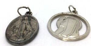 Old-Vintage-The-Miraculous-Medal-amp-Mary-Cutout-Italy-Silver-Tone-Pendant-Charms
