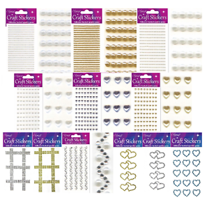 Assorted Shape Self Adhesive Craft Diamante Rhinestone Gems Stick on Crystals