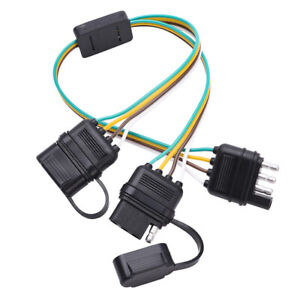 details about 4pin flat trailer wiring harness y splitter adapter connector fo led light strip camper wiring adapter trailer wiring harness adapter #8