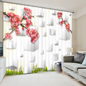 3D Ciruela Flores 15 Cortinas de impresión de cortina de foto Blockout Cortinas Ventana De Tela
