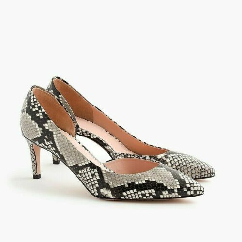 New JCREW D/'Orsay Lucie Pumps in Snake-Embossed Leather