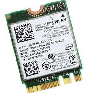 Bluetooth 4.0 Card P//N 0GPFNK Intel Wireless 7260 WLAN WiFi 802.11 ac//a//b//g//n