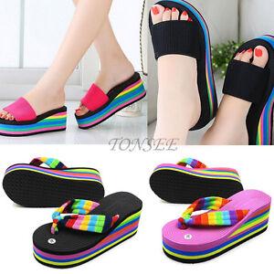 Women-Summer-Casual-Wedge-Platform-Thong-Flip-Flops-Sandals-Shoes-Beach-Slippers