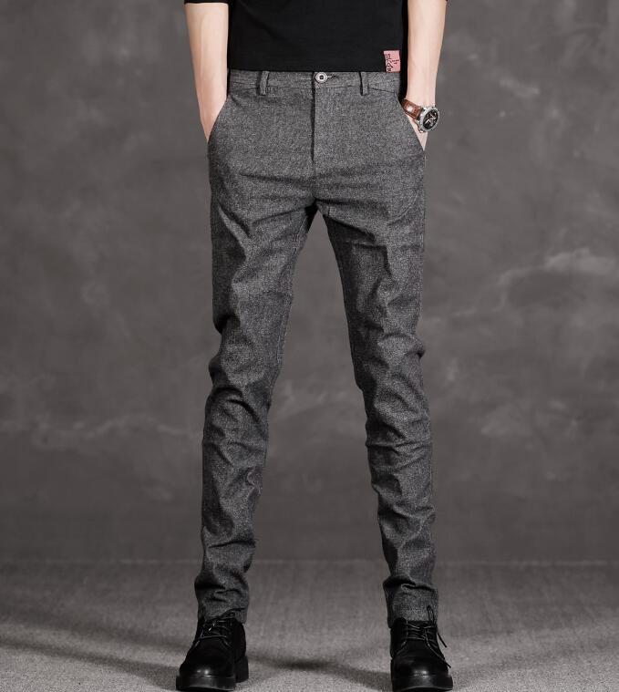 Korean Men's Slim Long Pants Business Cotton Linen Casual Fashion Dress Trousers