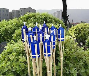 SET-OF-12-Bamboo-Tiki-Torches-Bamboo-Covers-48-034-Includes-Oil-Canisters-Blue