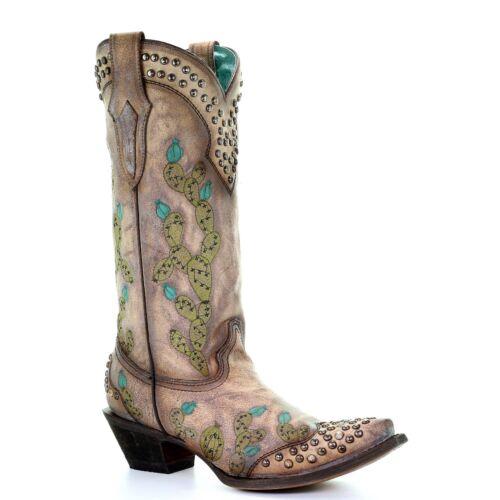 Corral Ladies Tobacco Brown Nopal Cactus Embroidery /& Stud Boots C3464