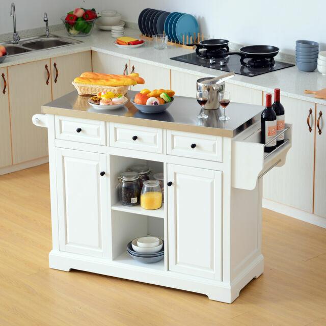 Homcom Pine Wood Stainless Steel Multi Storage Portable Rolling Kitchen Island White For Sale Online Ebay