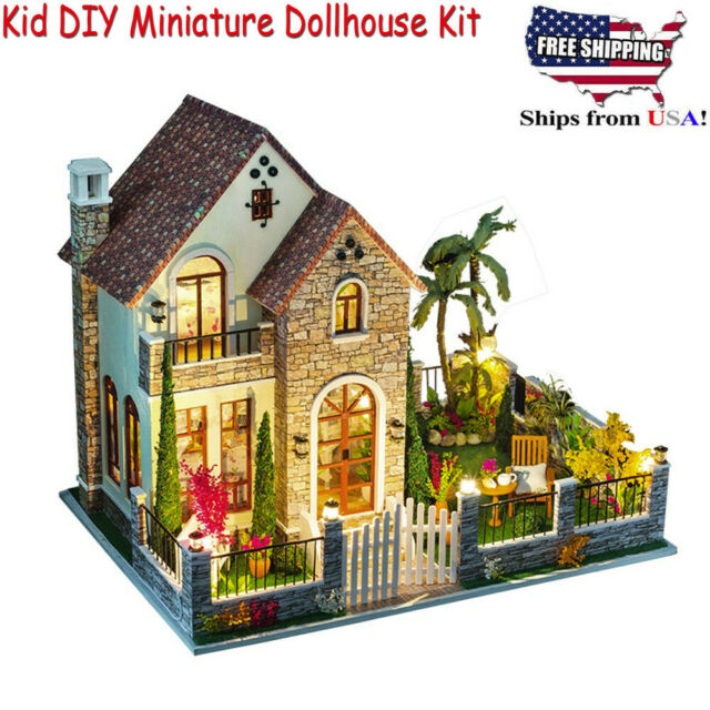 ROBOTIME DIY Wooden Dollhouse Kits Miniature House Kits with LED Light-Gifts