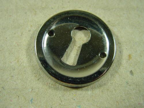 verchromt. Schlüsselschild rund aus Metall 1950er Jahre Möbelbeschlag
