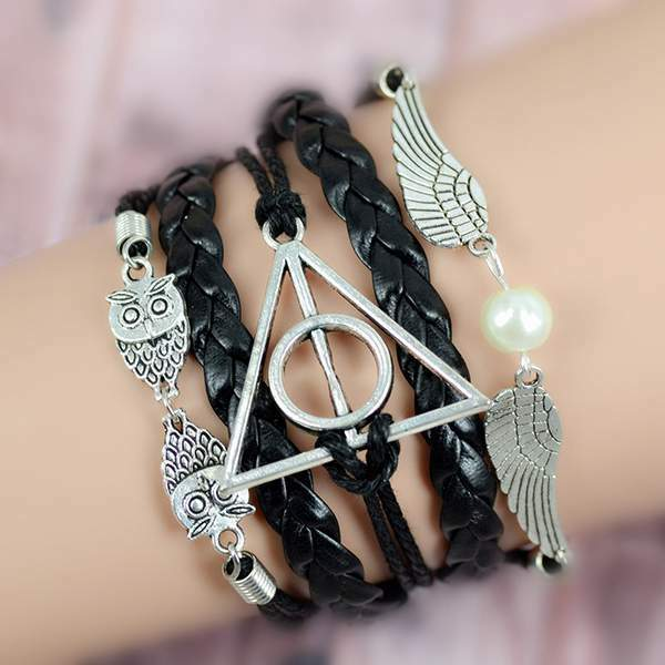 New Fashion Retro owl angel wings Harry Potter Multilayer Bracele Braided Rope