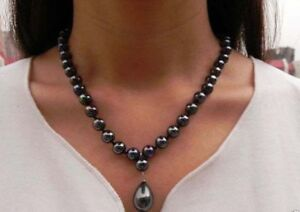 Fashion-8mm-Black-South-Sea-Shell-Pearl-amp-12x16mm-Drop-Pendant-Necklace-18-034
