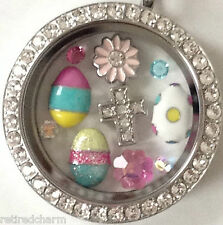 ❤️AUTHENTIC ORIGAMI OWL FOR EASTER ~LARGE CRYSTAL LOCKET & CHARMS EGGS CROSS❤️