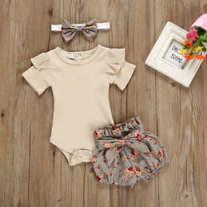 buy best new appearance best sale Details about 3PCS Newborn Baby Girl Outfits Clothes Tops Romper + Floral  Shorts Pants Set