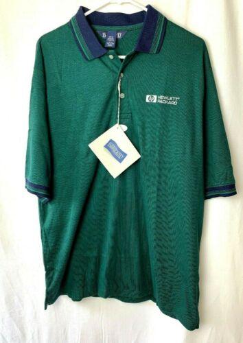 Lands End Hewlett Packard Men's Work Polo Shirts Large Green