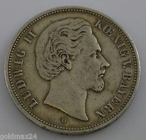 Silbermuenze-Dt-Kaiserreich-1876-D-Ludwig-II-Koenig-von-Bayern