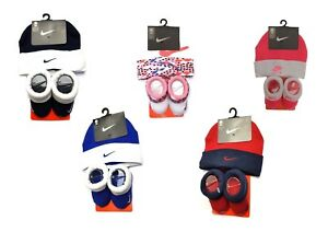 Genuine-Nike-Baby-Boys-Girls-Booties-and-Hat-Set-Gift-For-0-6-Months