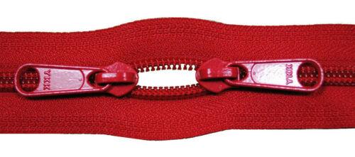 Reißverschluss 5 mm  Spirale rot 2 roten Schiebern bis 200 cm